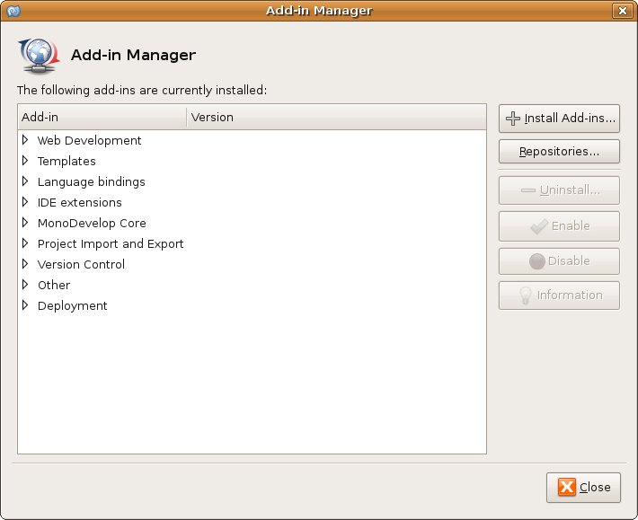 Add-in Manager dialog of MonoDevelop
